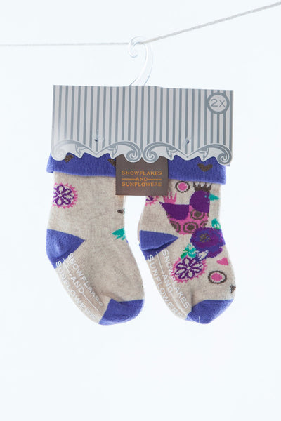2 pack girls' purple snowflakes and sunflowers socks.