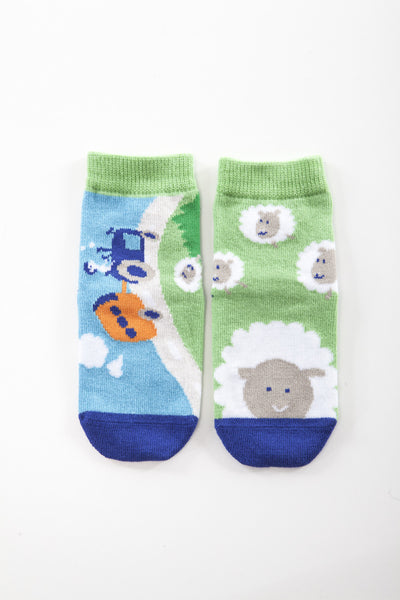 Fun single pair snowflakes and sunflowers socks, for boys who love cars
