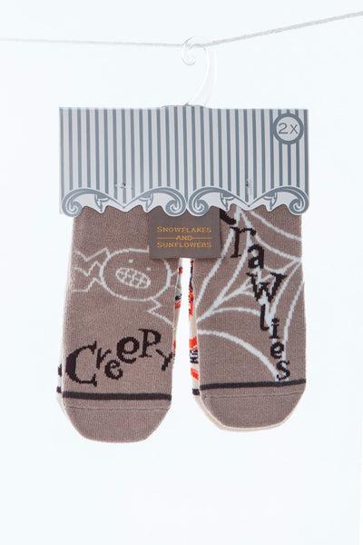 Fun 2 pair pack of girls' and boys' snowflakes and sunflowers socks