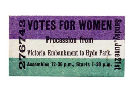 Womens Political and Social Union procession ticket