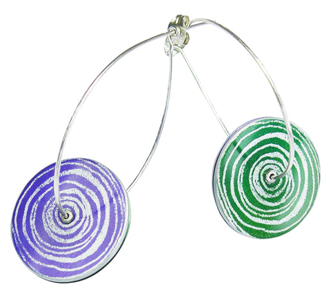 Suffragette drop earrings by Sally Lees