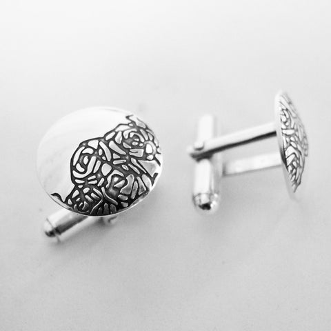 Sally Lees Roses etched cufflinks