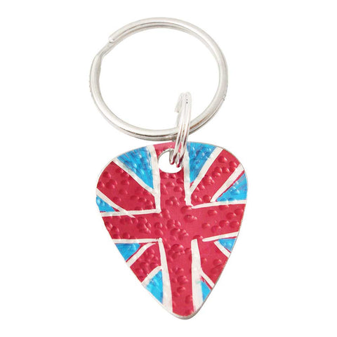 Red White & Blue Union Flag Guitar Pick Keyring