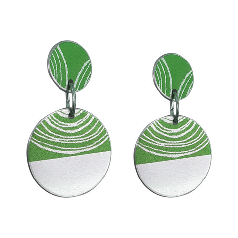 Green aluminium Women's suffrage earrings