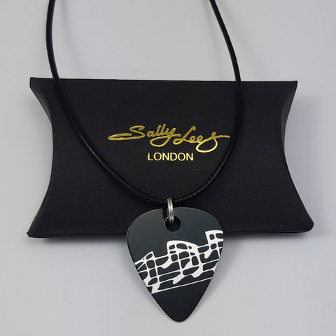 Guitar Pick Pendant - Musical Notes in Black