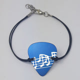 Guitar Pick Bracelet - Musical Notes in Dark Blue