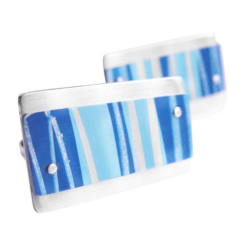 Blue deckchair stripe aluminium and silver cufflinks