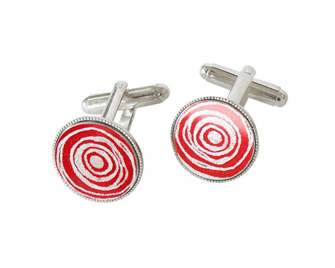 New Dawn red scroll motif contemporay cufflinks commissioned by the houses of parliament designed by Sally Lees
