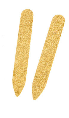 Silver and Gold Etched Roses Collar Stiffeners