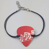 Guitar Pick Bracelet - Musical Notes in Red