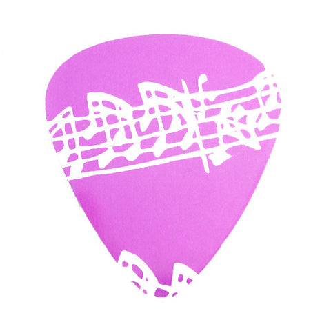 Guitar Pick - Pink Musical Notes