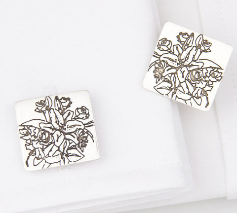 hand crafted contemporary Silver Etched Tigerlilies Cufflinks