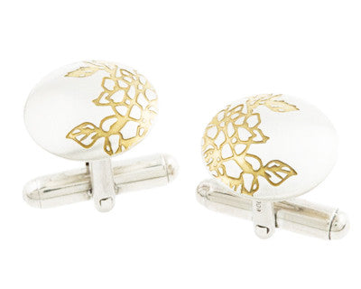 Silver and Gold Etched Carnations Cufflinks