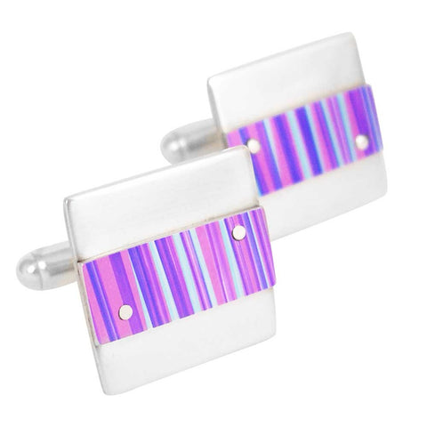 Pink and purple striped aluminum and silver cufflinks