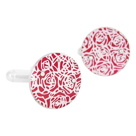 hand made sterling silver cufflinks with red aluminium decorated with roses print