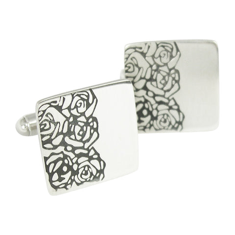 sterling silver square cufflinks decorated with half a black roses linear reapeat pattern