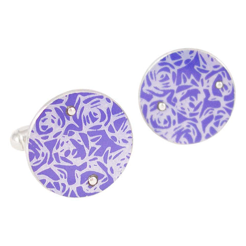 Sterling silver cufflinks with purple aluminium decoarted with roses print pattern