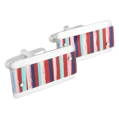 Red white and blue pinstripe cufflinks
