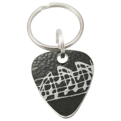 Black aluminum musical notes print on guitar pick keyring
