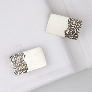 Hand made contemporary Silver Etched Roses Cufflinks