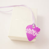 hand made aluminum Pink Musical Notes Guitar Pick by Sally Lees