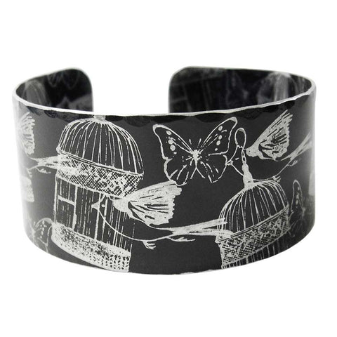Black aluminum birdcage bird and butterfly cuff
