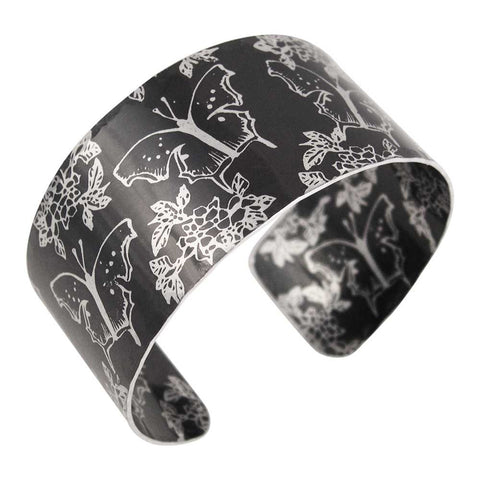 Carnations and butterflies black aluminium cuff