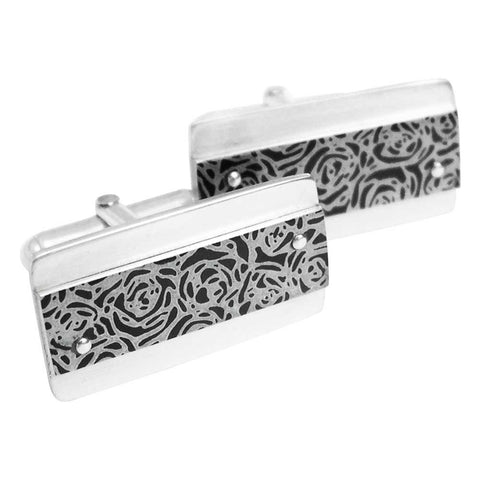 Black roses print aluminium and silver contemporary cufflinks