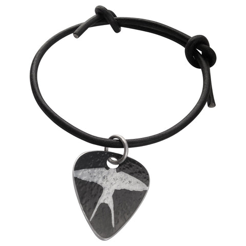 Guitar Pick Bracelet - Black Swallow