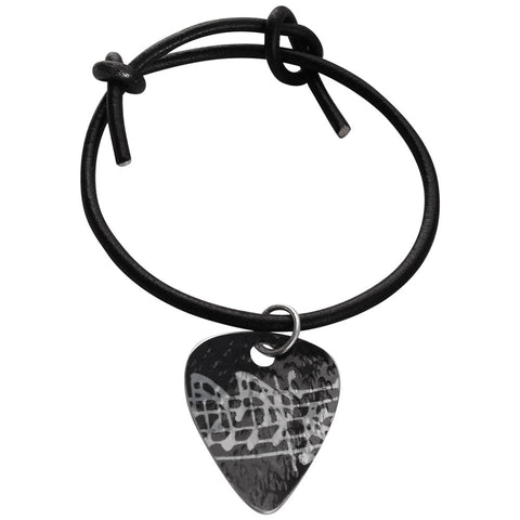 Black Guitar Pick musical notes Bracelet