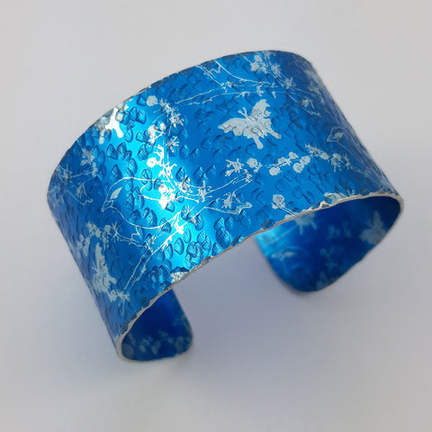 Blue Finches and Butterflies Cuff