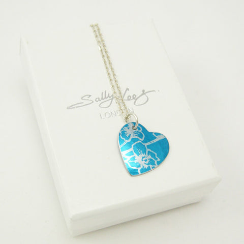 Hand made aluminum Blue Larkspur birth flower Pendant by Sally Lees