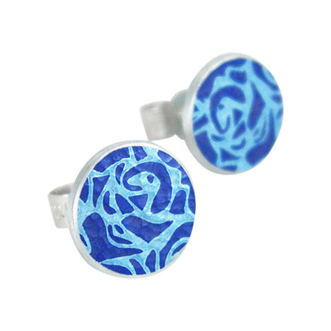 June's birth flower blue roses stud earrings