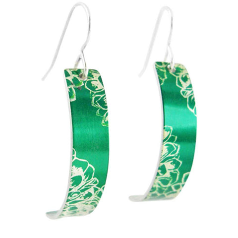 September's Birth Flower green aster aluminum and green curved earrings