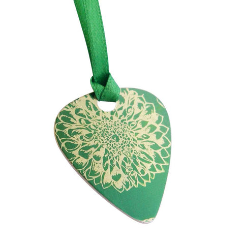 Green aster flower guitar pick pendant - september's birth flower