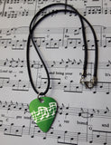 Guitar Pick Pendant - Musical Notes in Green