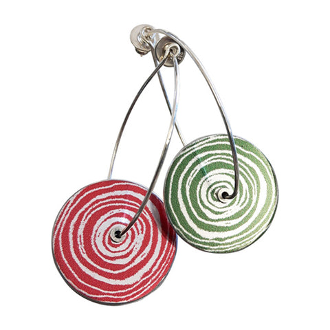 Women's Suffrage jewellery collection suffragist earrings in red and green aluminium with silver hook wires