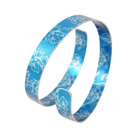 Blue Iris aluminium birth flower cuff by Sally Lees