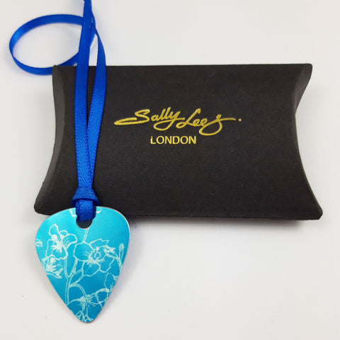 Birth Flower Guitar pick pendant - July's Larkspur in Blue