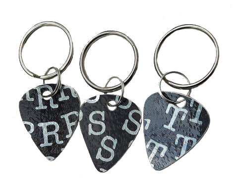 Aluminum personalised guitar pick keyrings