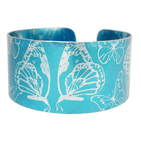 light blue aluminium cuff with butterflies