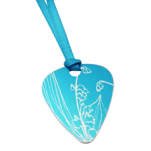 May's birth flower blue lily of the valley guitarpick pendant