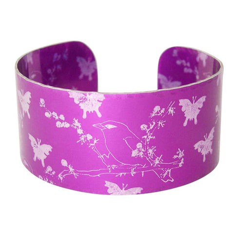 Pink Finches and Butterflies Cuff
