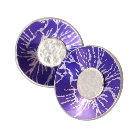 July's Birth flower Larkspur aluminium and silver earrings
