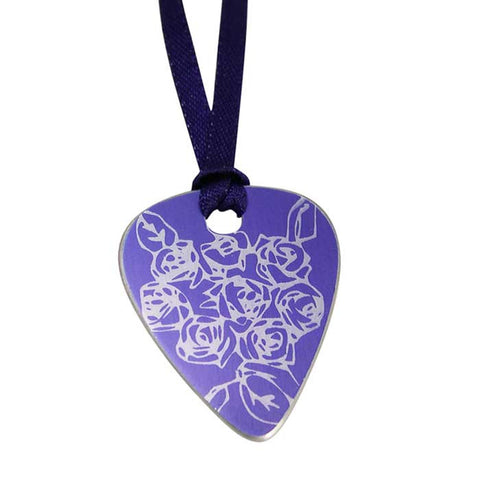 Junes birth flower purple roses guitar pick pendant sally lees junes birth flower purple aluminium roses print guitar pick pendant aloadofball Image collections