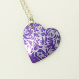 Purple roses aluminium pendant with silver chain