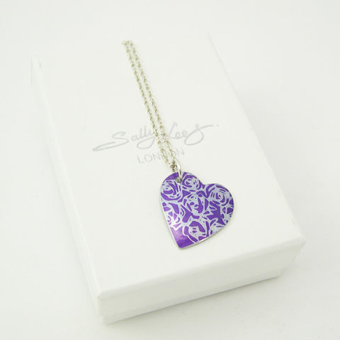 Purple aluminium Roses pendant with silver chain
