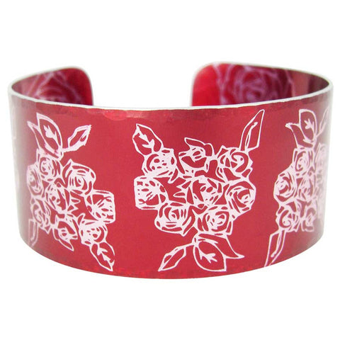 June's Birth Flower - Red Roses Cuff