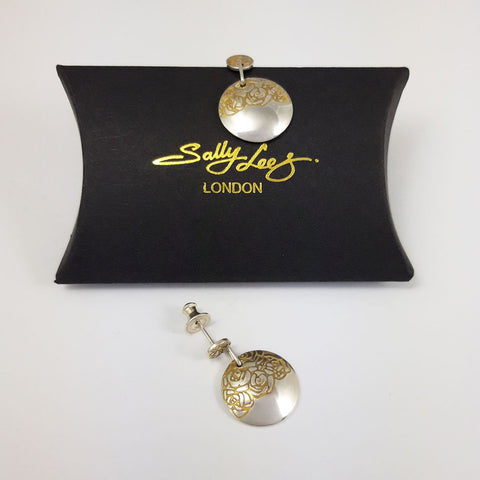 Hand crafted silver and gold etched round drop earrings with a gift box