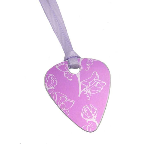Sweetpea birth flower aluminum guitar pick pendant